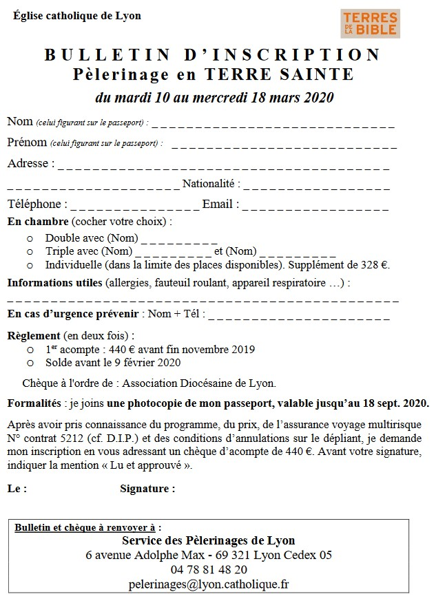 2020 Pelerinage Terre Sainte En Mars (inscription)