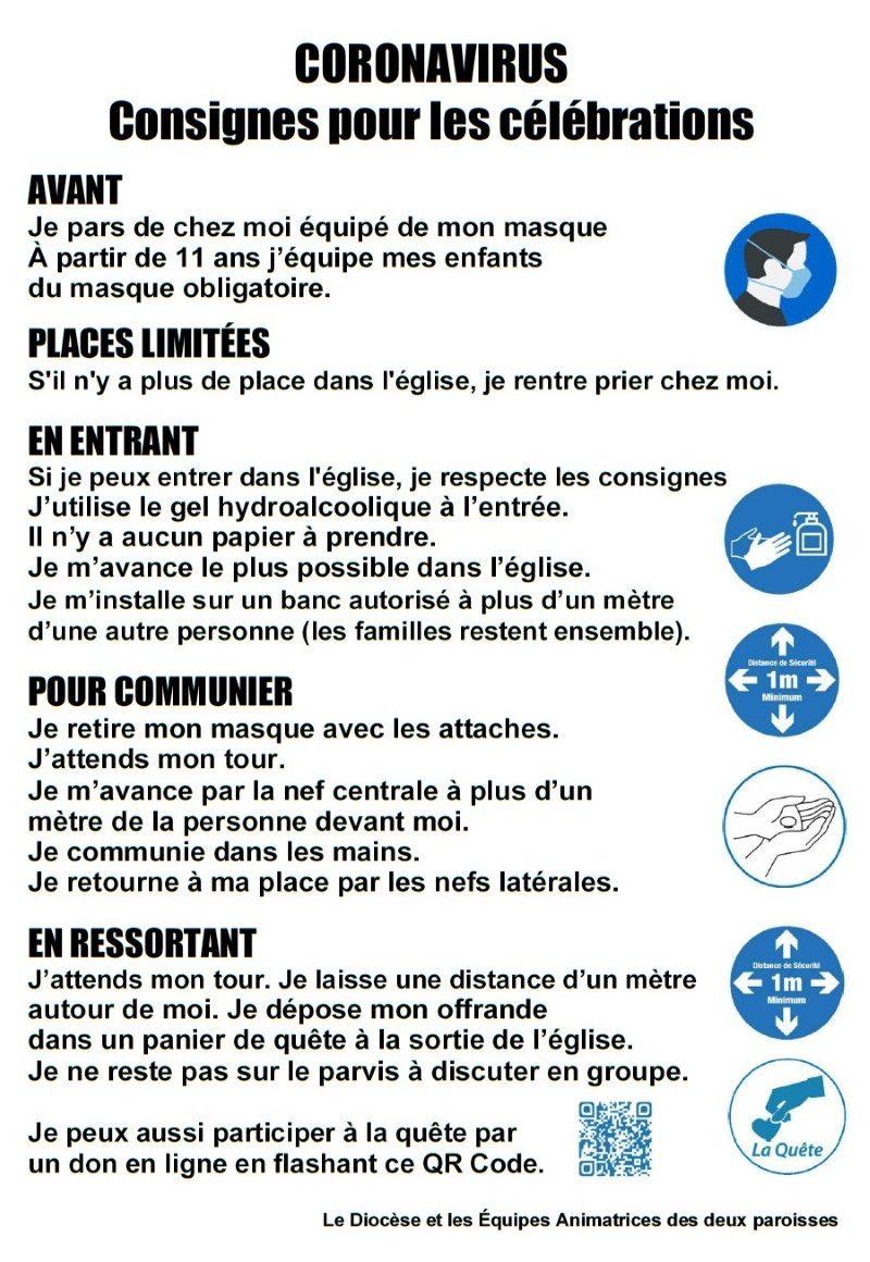 Affiche Consignes Pour Celebration Eglises Pays Mornantais (personnalisé)