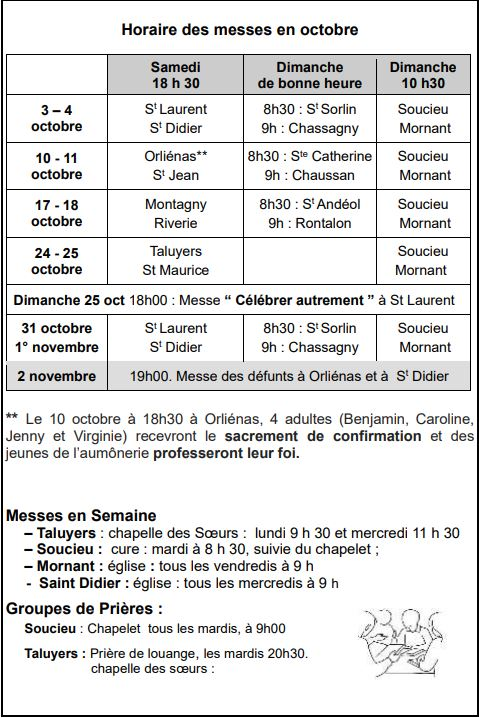 Horaires Messes Oct 2020